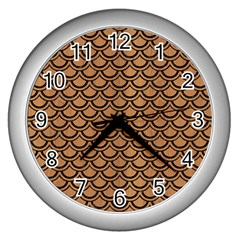 Scales2 Black Marble & Light Maple Wood (r) Wall Clocks (silver)