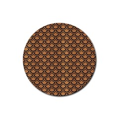Scales2 Black Marble & Light Maple Wood (r) Rubber Coaster (round)  by trendistuff