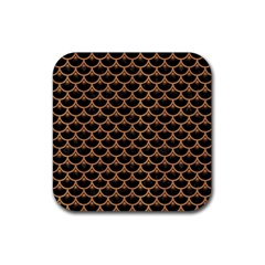 Scales3 Black Marble & Light Maple Wood Rubber Square Coaster (4 Pack)  by trendistuff