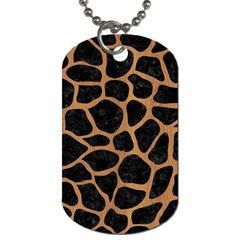 Skin1 Black Marble & Light Maple Wood (r) Dog Tag (two Sides) by trendistuff