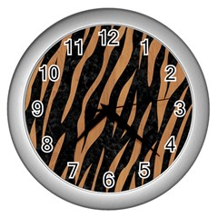 Skin3 Black Marble & Light Maple Wood Wall Clocks (silver)  by trendistuff