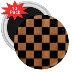 Square1 Black Marble & Light Maple Wood 3  Magnets (10 Pack)