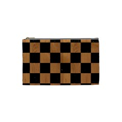 Square1 Black Marble & Light Maple Wood Cosmetic Bag (small)  by trendistuff