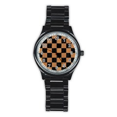 Square1 Black Marble & Light Maple Wood Stainless Steel Round Watch