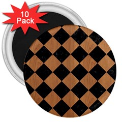 Square2 Black Marble & Light Maple Wood 3  Magnets (10 Pack)