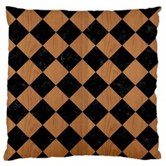 Square2 Black Marble & Light Maple Wood Large Flano Cushion Case (one Side) by trendistuff