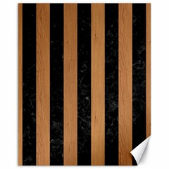 Stripes1 Black Marble & Light Maple Wood Canvas 16  X 20   by trendistuff