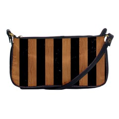 Stripes1 Black Marble & Light Maple Wood Shoulder Clutch Bags by trendistuff