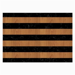 Stripes2 Black Marble & Light Maple Wood Large Glasses Cloth (2 Side) by trendistuff