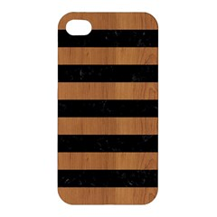 Stripes2 Black Marble & Light Maple Wood Apple Iphone 4/4s Premium Hardshell Case by trendistuff