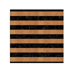 Stripes2 Black Marble & Light Maple Wood Small Satin Scarf (square) by trendistuff