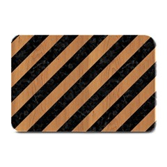 Stripes3 Black Marble & Light Maple Wood Plate Mats by trendistuff