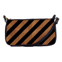 Stripes3 Black Marble & Light Maple Wood Shoulder Clutch Bags by trendistuff