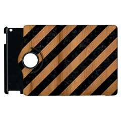 Stripes3 Black Marble & Light Maple Wood Apple Ipad 3/4 Flip 360 Case