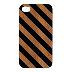 Stripes3 Black Marble & Light Maple Wood (r) Apple Iphone 4/4s Hardshell Case by trendistuff