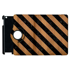 Stripes3 Black Marble & Light Maple Wood (r) Apple Ipad 3/4 Flip 360 Case by trendistuff