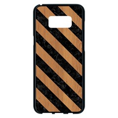 Stripes3 Black Marble & Light Maple Wood (r) Samsung Galaxy S8 Plus Black Seamless Case by trendistuff
