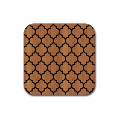 Tile1 Black Marble & Light Maple Wood (r) Rubber Square Coaster (4 Pack)  by trendistuff