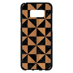 Triangle1 Black Marble & Light Maple Wood Samsung Galaxy S8 Plus Black Seamless Case by trendistuff