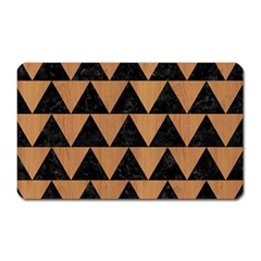 Triangle2 Black Marble & Light Maple Wood Magnet (rectangular) by trendistuff