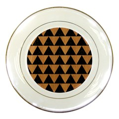 Triangle2 Black Marble & Light Maple Wood Porcelain Plates by trendistuff