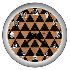 Triangle3 Black Marble & Light Maple Wood Wall Clocks (silver)