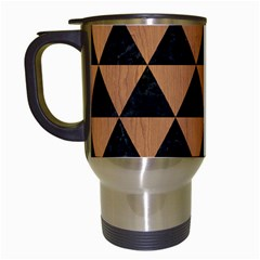 Triangle3 Black Marble & Light Maple Wood Travel Mugs (white) by trendistuff