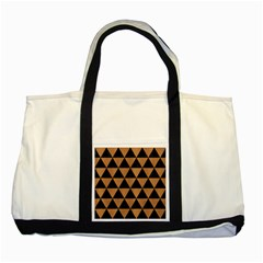 Triangle3 Black Marble & Light Maple Wood Two Tone Tote Bag by trendistuff