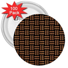 Woven1 Black Marble & Light Maple Wood 3  Buttons (100 Pack)  by trendistuff