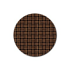 Woven1 Black Marble & Light Maple Wood Rubber Coaster (round)  by trendistuff