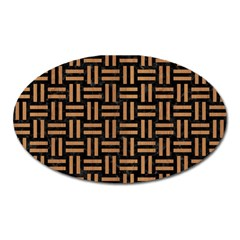 Woven1 Black Marble & Light Maple Wood Oval Magnet by trendistuff