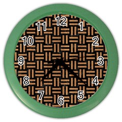 Woven1 Black Marble & Light Maple Wood Color Wall Clocks by trendistuff
