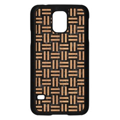 Woven1 Black Marble & Light Maple Wood Samsung Galaxy S5 Case (black) by trendistuff