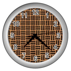 Woven1 Black Marble & Light Maple Wood (r) Wall Clocks (silver)  by trendistuff