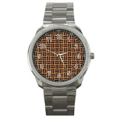 Woven1 Black Marble & Light Maple Wood (r) Sport Metal Watch by trendistuff