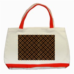 Woven2 Black Marble & Light Maple Wood Classic Tote Bag (red) by trendistuff