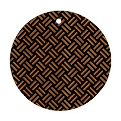 Woven2 Black Marble & Light Maple Wood Round Ornament (two Sides) by trendistuff