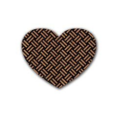 Woven2 Black Marble & Light Maple Wood Heart Coaster (4 Pack)  by trendistuff