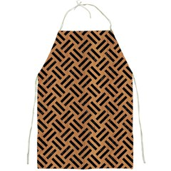 Woven2 Black Marble & Light Maple Wood (r) Full Print Aprons by trendistuff