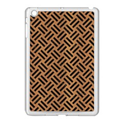 Woven2 Black Marble & Light Maple Wood (r) Apple Ipad Mini Case (white) by trendistuff