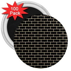 Brick1 Black Marble & Light Sand 3  Magnets (100 Pack) by trendistuff