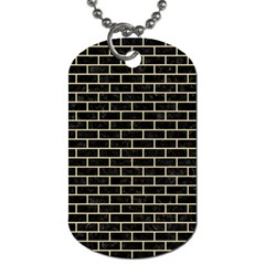 Brick1 Black Marble & Light Sand Dog Tag (one Side) by trendistuff
