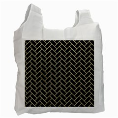 Brick2 Black Marble & Light Sand Recycle Bag (two Side)  by trendistuff
