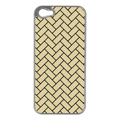 Brick2 Black Marble & Light Sand (r) Apple Iphone 5 Case (silver) by trendistuff