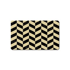 Chevron1 Black Marble & Light Sand Magnet (name Card) by trendistuff