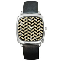 Chevron1 Black Marble & Light Sand Square Metal Watch by trendistuff