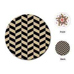 Chevron1 Black Marble & Light Sand Playing Cards (round)