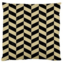 Chevron1 Black Marble & Light Sand Large Flano Cushion Case (one Side) by trendistuff