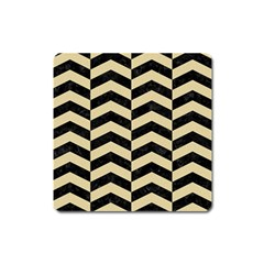 Chevron2 Black Marble & Light Sand Square Magnet by trendistuff