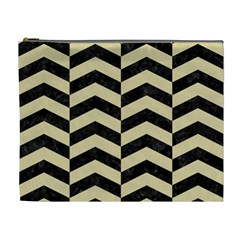 Chevron2 Black Marble & Light Sand Cosmetic Bag (xl) by trendistuff